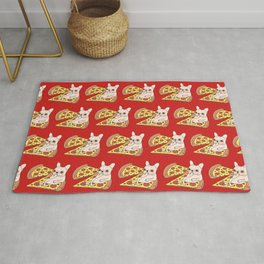 Cream Frenchie invites you to her Pepperoni pizza party Rug
