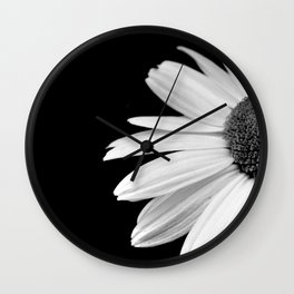 Half Daisy in Black and White Wall Clock