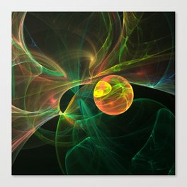 Abstract fractal orange planet. Space theme. Computer generated graphics. Canvas Print