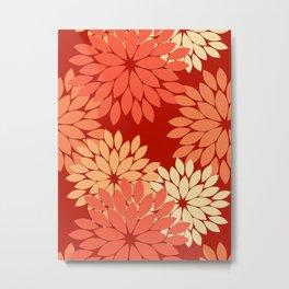 Modern Floral Kimono Print, Mandarin Orange Metal Print