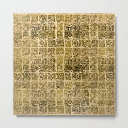 Mayan and aztec glyphs gold on vintage texture Metal Print