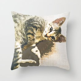 Tabby Cat Lying on Textile Throw Pillow