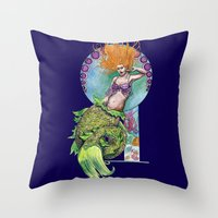 pinup Throw Pillows featuring Mermaid Pinup by Theresa Lammon
