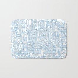 gingerbread town blue Bath Mat