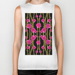 "FUCHSIA PINK ""ROSES & THORNS""  BLACK ART PATTERNS Biker Tank"