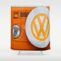 volkswagen Shower Curtains featuring Volkswagen Orange by Alice Gosling