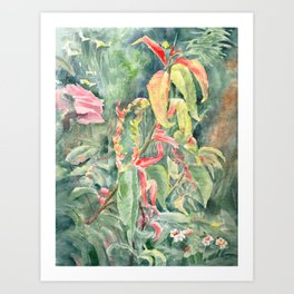 Magic Garden, watercolour Art Print