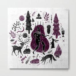 Yule, Birth of the Sun - Black&Wine Metal Print