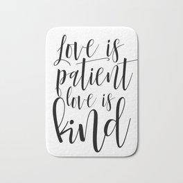 Printable Love Is Patient Love Is Kind Wall Art, Bible Verse Art Print, Nursery Wall Art Bath Mat