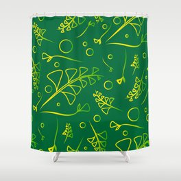Botanical lemon pattern from plants and grass blades on a mint background. Shower Curtain
