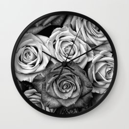 The Roses (Black and White) Wall Clock