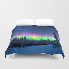 Aurora Borealis Over Wintry Mountains Duvet Cover
