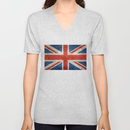Square Union Jack retro style, made for the Pillows, Duvets and Shower curtains Unisex V-Neck