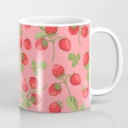 Juicy strawberries on a pink background Coffee Mug
