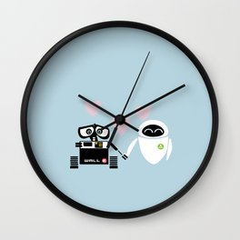 pixar walle and eve love and romance... minimalistic Wall Clock