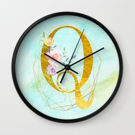 Gold Foil Alphabet Letter Q Initials Monogram Frame with a Gold Geometric Wreath Wall Clock