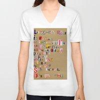 cigarettes V-neck T-shirts featuring Stale Cigarettes by Maison Fioravante - Fine Artist