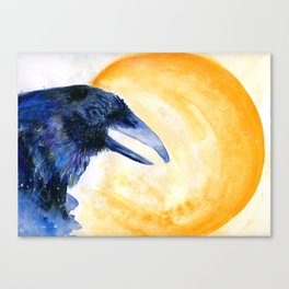 Raven and the moon Canvas Print
