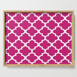 Arabesque Architecture Pattern In Dull Pink Serving Tray