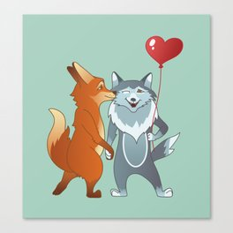 Fox And Wolf Canvas Print