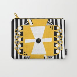 Black and White Squares and Stripes Carry-All Pouch