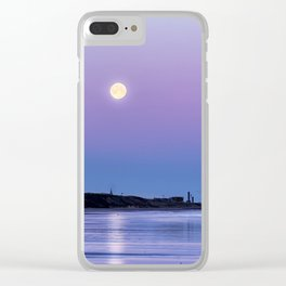 Supermoon setting at Saltburn-by-the-sea Clear iPhone Case