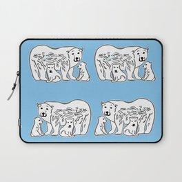 Polar Bears Blue and White Pattern Laptop Sleeve