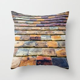 traditional vintage clay tiles – vernacular architectural building materials Throw Pillow
