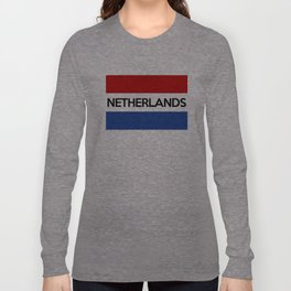 netherlands country flag name text Long Sleeve T-shirt