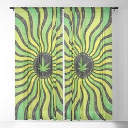 Marijuana energy | Sacred geometry mandala Sheer Curtain