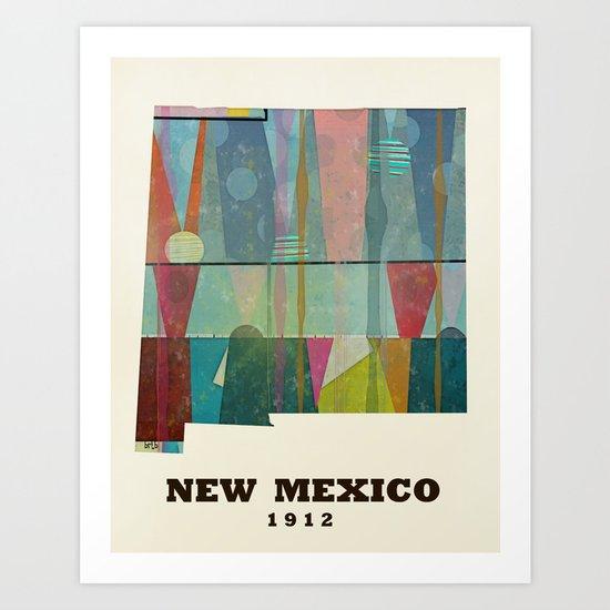 new mexico map modern Art Print