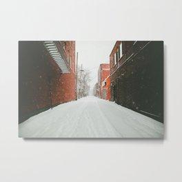 Montréal Snowstorm in alley Metal Print