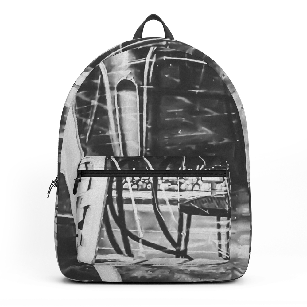 Outdoor Chairs In The City In Black And White Backpack by timla