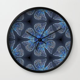 Shining Blue Butterflies Wall Clock
