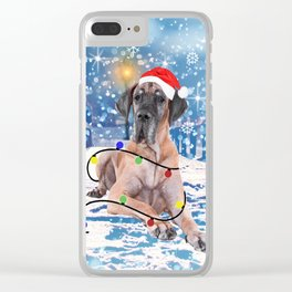 Great Dane Holidays Christmas Snow Clear iPhone Case