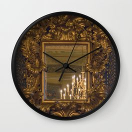 Grand Gold vintage mirror with chandelier reflection Wall Clock