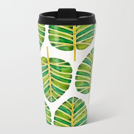 Elephant Ear Alocasia – Green Palette Metal Travel Mug