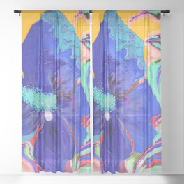 Birthday Acrylic Blue Orange Hibiscus Flower Painting with Red and Green Leaves Sheer Curtain