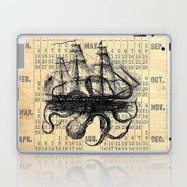 Octopus Kraken attacking Ship Antique Almanac Paper Laptop & iPad Skin