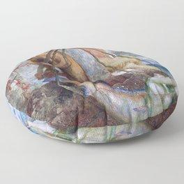 Two Fishing Pans - Arnold Bocklin Floor Pillow