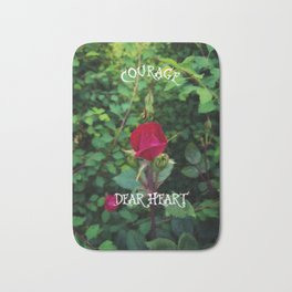 Courage, dear heart, C.S. Lewis quote in rosebud garden setting Bath Mat