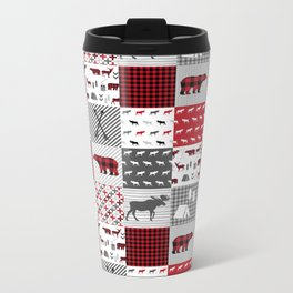 Plaid camping cabin outdoors nature quilt design gender neutral kids baby design Metal Travel Mug