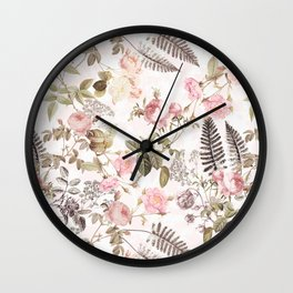 Vintage & Shabby Chic - Blush Roses and Fern Leaf Wall Clock
