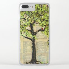 Two Red Cardinal Love Birds in a Tree Clear iPhone Case