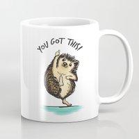 motivational Mugs featuring Motivational Hedgehog by Samantha DeLuca