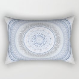 Elegant Blue Silver China Inspired Mandala Rectangular Pillow