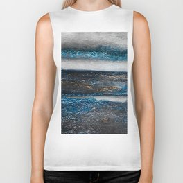 Blue Waves Abstract Watercolor Biker Tank