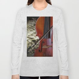 Cello with Bow a Stringed Instrument with Classical Sheet Music Long Sleeve T-shirt
