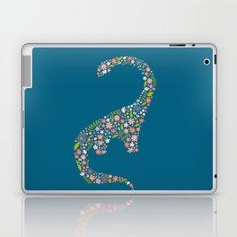 Floral Brontosaurus on Blue Laptop & iPad Skin