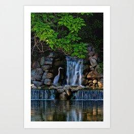 Blue Heron At River Waterfall Art Print